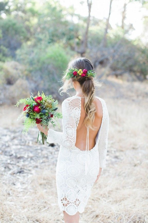 crochet backless wedding dress by Spell Designs