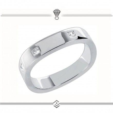 Alliance carrée en or blanc et sertie de diamants solitaire~~alliances-antipodes.com