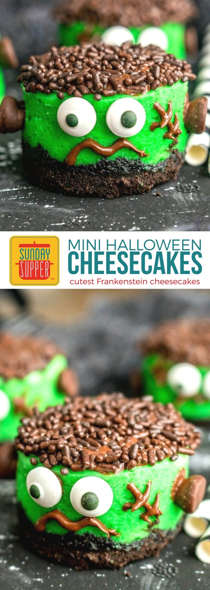 A Halloween dessert recipe you can eat in one bite! These cute Mini Frankenstein Cheesecakes are the perfect Halloween finger food for your Halloween party! Decorate with food for your Halloween part with a 'crave'yard dessert table. Along with the recipe for these adorable Halloween cheesecakes, we share decorating tips and other Halloween food ideas! #SundaySupper #HalloweenFingerFoods #HalloweenRecipes