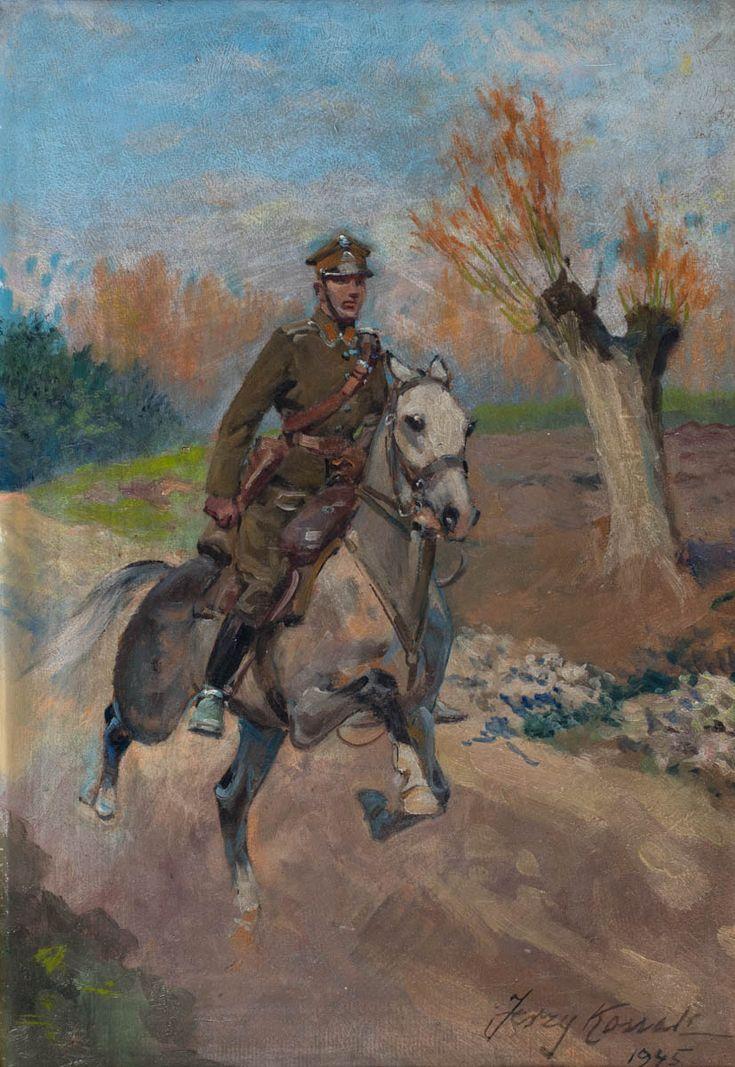 JERZY KOSSAK (1886 - 1955)  UŁAN NA KONIU, 1945   olej, tektura / 50 x 35 cm  sygn. p.d.: Jerzy Kossak/ 1945