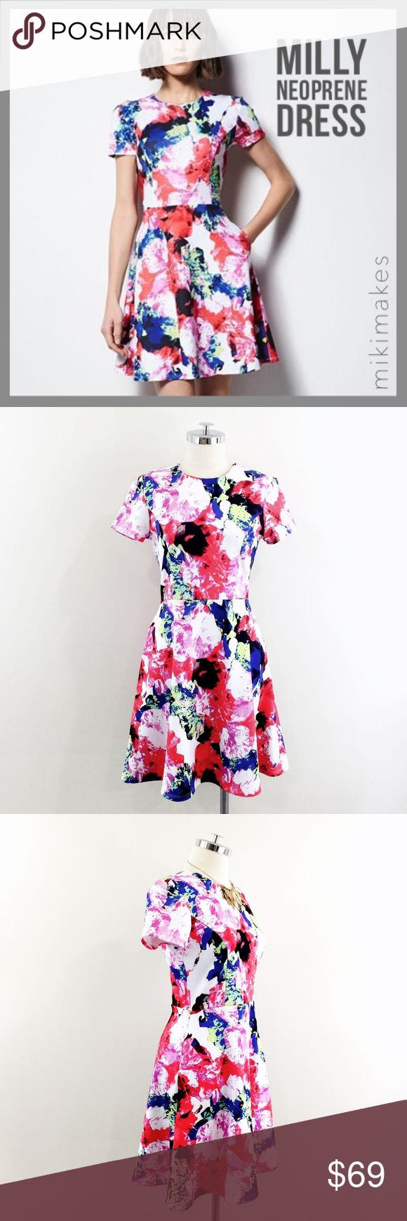 "🆕 MILLY • NWT neoprene fit & flare floral dress • Brand new with tags dress from Milly for Design Nation • neoprene fabric • abstract graphic floral print • short sleeves • fit & flare style • exposed black metal zipper at the back  92% polyester 8% spandex  ✂️  Bust = 38"" ✂️  Waist = 32"" ✂️  Shoulder = 16"" ✂️  Length = 39""  • sorry no trades • please feel free to ask any questions  ❤️,  @mikimakes  062917.bin8.69 Milly Dresses Mini"
