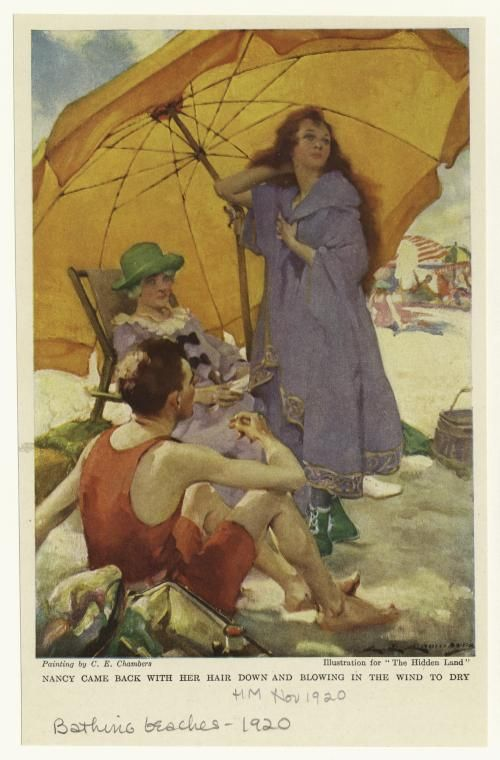 """Nancy came back with her hair down and blowing in the wind to dry.  Creator: Chambers, Charles Edward, ca. 1883-1941 -- Artist  Published Date: 1920  """"Illustration for 'The hidden land'"""" From Harper's magazine.      What to wear after you swim - robe and emerald green beach shoes"""