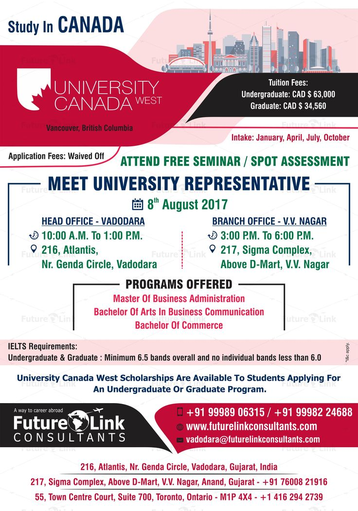 Attend Free Seminar And Spot Assessment Of University Canada West, Canada  At Future Link Consultants! Date: August 2017 HeadOffice, Vadodara Time: A.