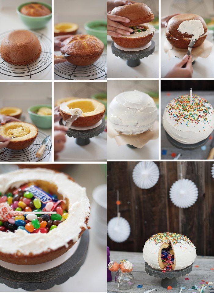 In english cake recipe : Pinata cake Dieser Kuchen eignet sich als prima Überraschnungen für Geburtstage und Feste, nicht nur für Kinder geeignet! Ihr könnt ihn mit Süßigkeiten, einer Nachricht für...