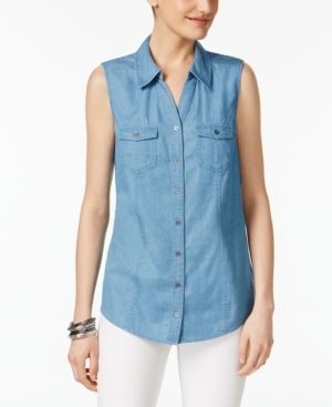 Style & Co Sleeveless Denim Shirt, Only at Macy's - Blue XS
