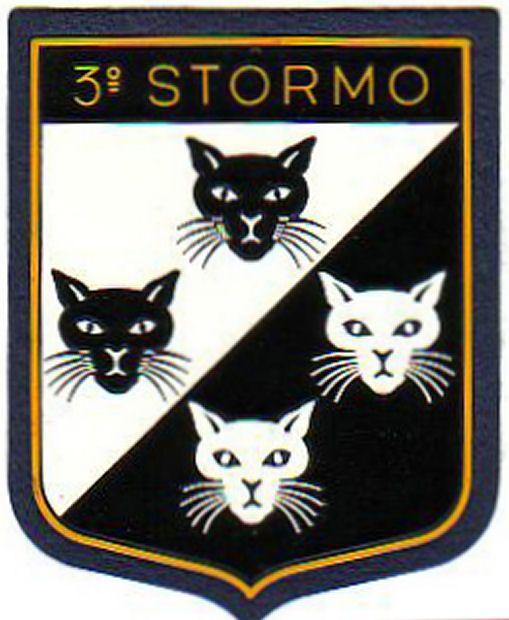 """3° Stormo dell'Aeronautica Militare. Il simbolo araldico dei """"4 Gatti"""" risale alla fine del 1940. A tale stemma e a una battuta del Tenente Colonnello Moci (""""sempre i soliti quattro gatti"""") fecero riferimento gli stemmi dei ricostituiti 28° e 132° Gruppo, giudicati irriguardosi e polemici furono quindi sostituti: quattro musi di gatto, due bianchi in campo nero e due neri in campo bianco, rappresentanti la visione diurna e notturna. http://www.aeronautica.difesa.it"""