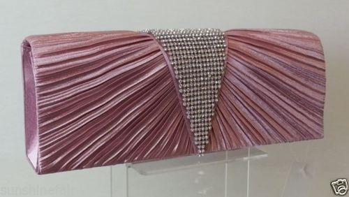 PINK Pleated-Satin-Diamante-Deep-V-Clutch-Bag
