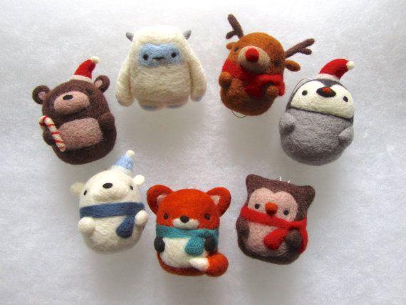 Christmas Decorations - Set of 7, Needle Felted Christmas Ornaments, Tree Ornaments, Christmas Tree Decor, Felt Ornaments, Holiday Decor