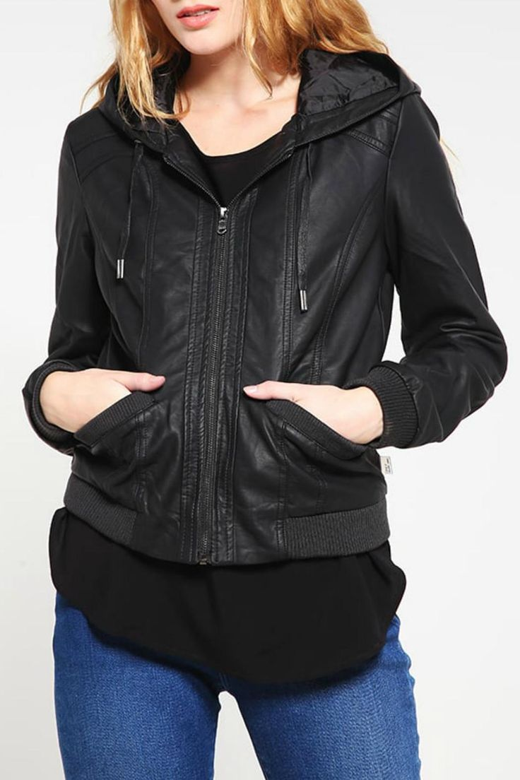 The Melodie is a faux leather jacket. Includes hood, pockets, elastic waistband and cuffs.   Melodie Jacket by ONLY. Clothing - Jackets, Coats & Blazers - Jackets Canada
