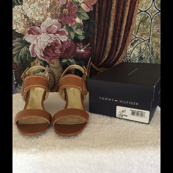 "SALE!! Camel Sandals Beautiful camel sandals to dance away the night in. Excellent condition - worn twice. Heel height is 3"". Great for a romantic moonlit night! Tommy Hilfiger Shoes Sandals"