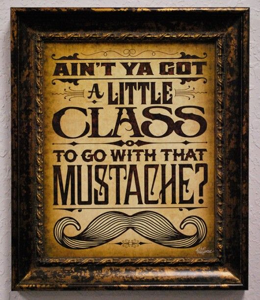 ain't ya got a little class to go with that mustache?