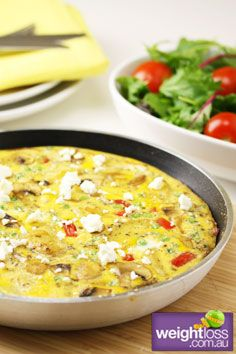 Healthy Dinner Recipes: Potato Capsicum and Mushroom Frittata. #HealthyRecipes #DietRecipes #WeightlossRecipes weightloss.com.au