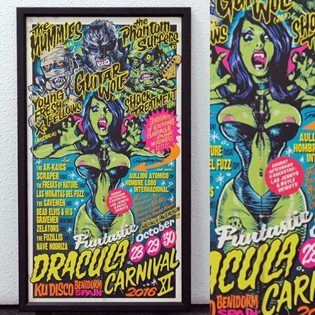 "In the Erostika online store NOW ""FUNTASTIC DRACULA CARNIVAL"" Offset Print Poster Size : 400 x 730 mm Limited 200pcs Price : 4,500yen (plus tax) #rockinjellybean #erostika #halloween #lowbrowart"