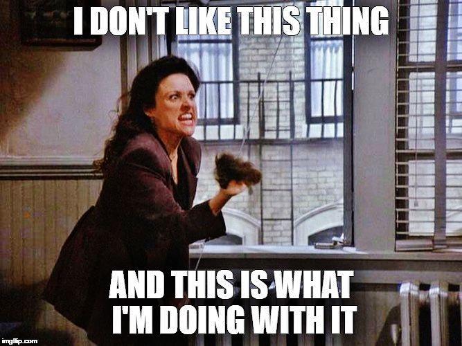 Elaine violently hates George's toupee...