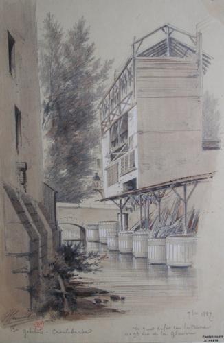 La Bièvre au niveau du pont de fer et du n°93 rue de la Glacière, 13ème arrondissement | Paris Musées