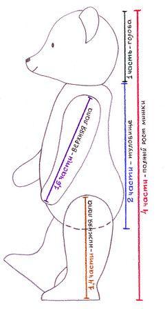 Пропорции классического мишки Тедди: полный рост мишки - 4 части; голова - 1 часть; туловище - 2 части; длина верхней лапы - 1,6 части; длин...