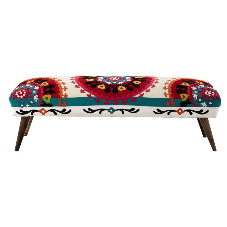 Embroidered cotton bed end, multicoloured W 119cm Bohemian