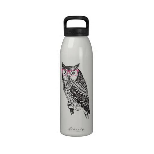 Nerd Bird Vintage Graphic Owl Water Bottle