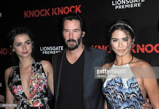 Actress Ana De Armas Actor Keanu Reeves And Actress Lorenza Izzo Keanu Reeves Actors Knock Movie