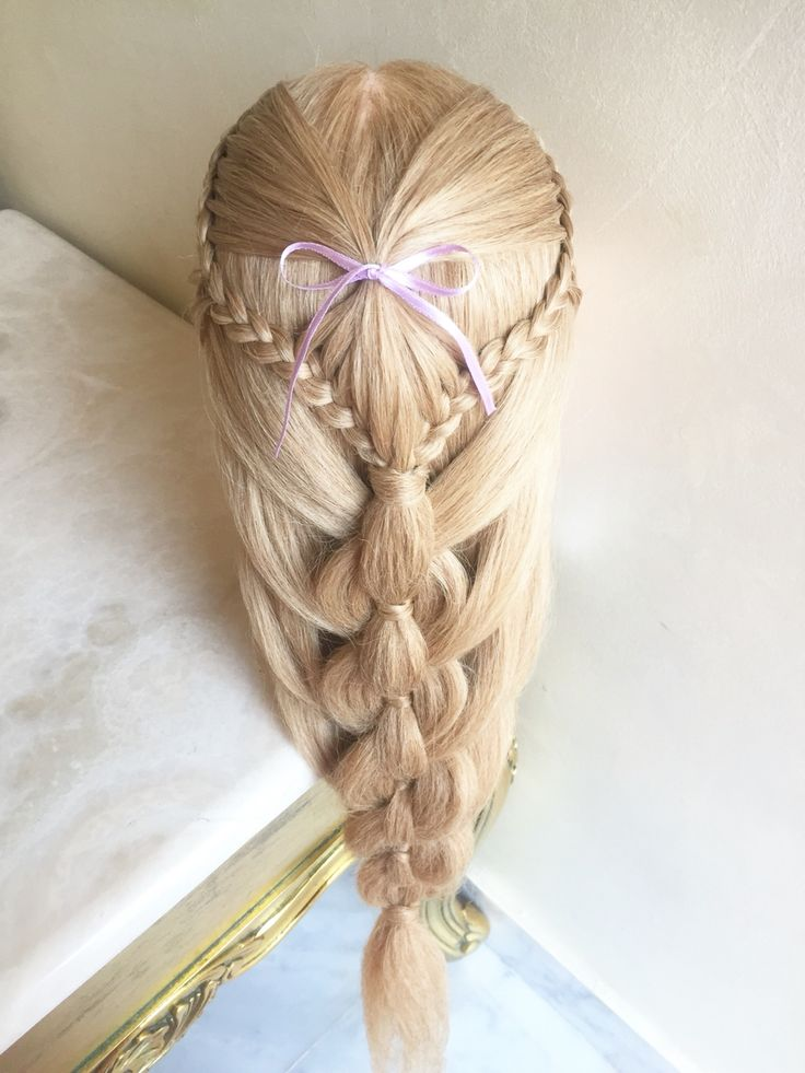 Angel(heart) braid into pull through mermaid braid