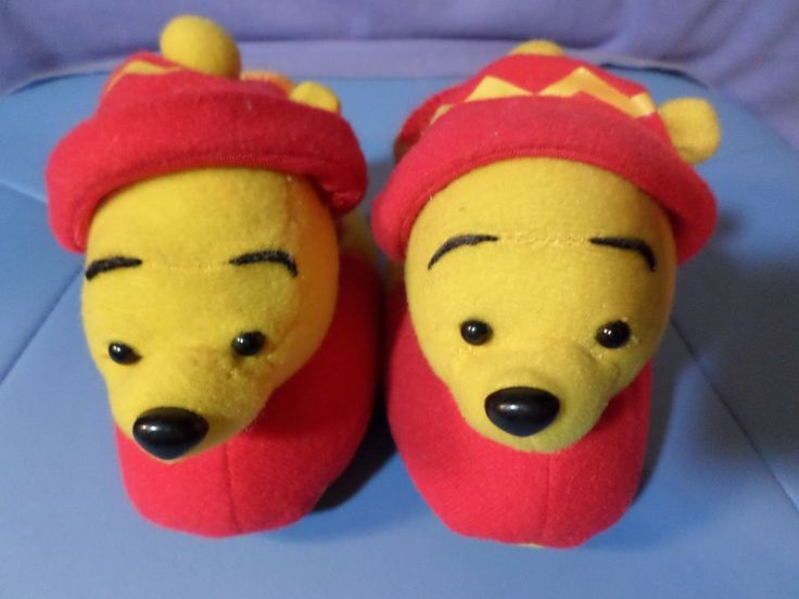 WINNIE THE POOH SLIPPERS BY DISNEY SIZE 1-2 MULTI COLOR MADE IN CHINA  #Disney #Slippers