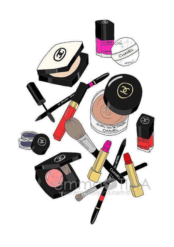 "Chanel Makeup Haul Fashion Illustration Art Print by emmakisstina - More illustrations LINE BOTWIN ""girly illustrations"""