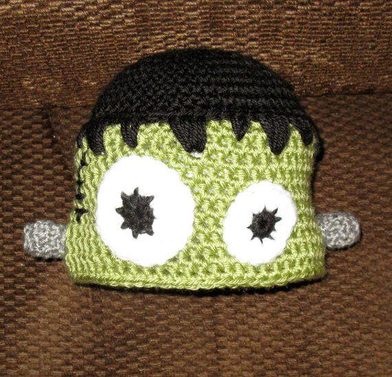Halloween Set - Crochet Pattern Set No 101 - Black Cat, Frankenstein, Ghost, Pumpkin, Spider Web and Monster Hat Patterns - Newborn to Adult. $10.00, via Etsy.