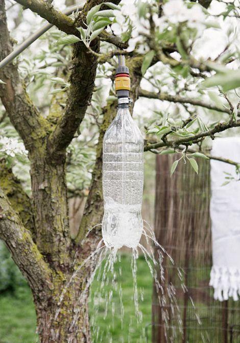 buitendouche fles DIY zelfmaakidee