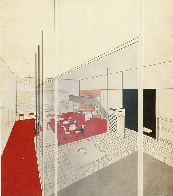 Apartment House Communal Rooms For Werkbund Exhibition Paris 1930 Interior Perspective View Of Bar From Poo Bauhaus Victorian Interior White House Interior
