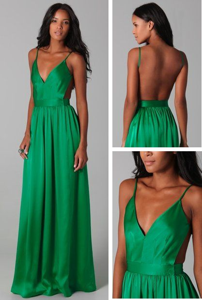 Emerald, backless dress.