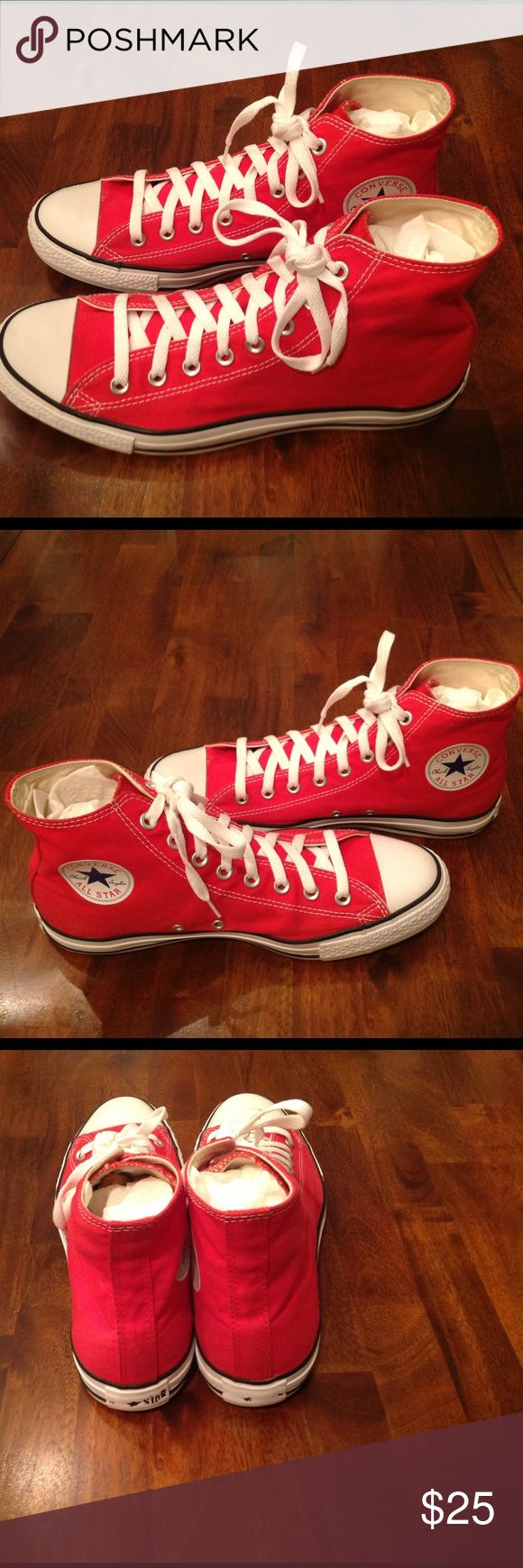 """CONVERSE CHUCK TAYLOR HI TOP SNEAKERS PRE-OWNED CONVERSE CHUCK TAYLOR ALL STAR HI TOP SNEAKERS; Excellent Condition. Men's Size: 10; Color: Red; Note: The words """"All Star"""" etched on the back of the sneakers has worn off as evidenced in the photos. Make your best offer today. Converse Shoes Sneakers"""