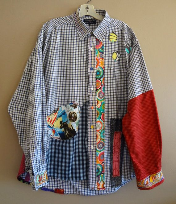 Med to Plus Size  Funky Shirt / Upcycled Boyfriend by upCdooZ, $52.00