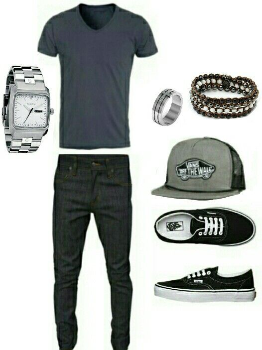 Men's fashion casual van's outfit \m/ I'd eliminate the flatbill hat. I don't roll like that.