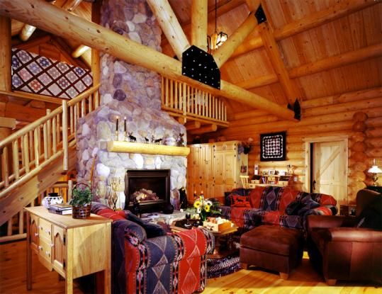 This Home Has The Unique Architectural King Truss With Braces And Metal  Connectors In The Great. Log Cabin KitsCabin ...