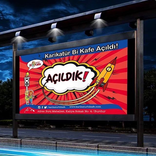 Karikatür Bi Kafe Bilboard Tasarımı🖍🚀 Karikatür Bi Kafe Açıldı! 🎉  #karikatürbikafe #burdur #bilboard #banner #megalight #poster #digitalart #kafdesign #graphicdesign #elegance #creative #creativeagency #advertisingagency #turkey #brandidentity #shooting #marketing #behance  #art #design #like4like #follow #instadesign #printing #antalya