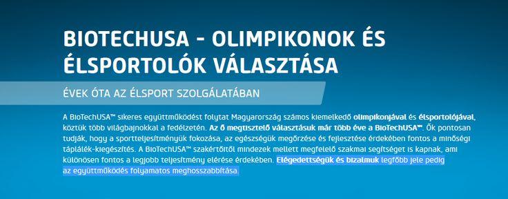 A magyar élsportolók és olimpikonok is Biotech USA termékeket használnak.