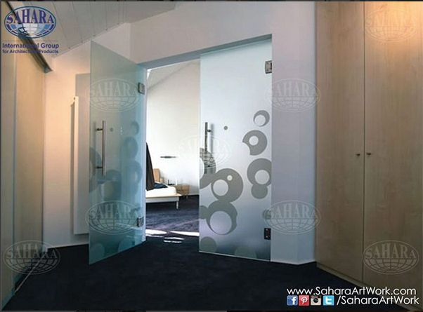 The sandblasted glass doors is one among many other glass solutions for your office. We can provide you with variety of standard and decorative glass solutions that suits your different needs!
