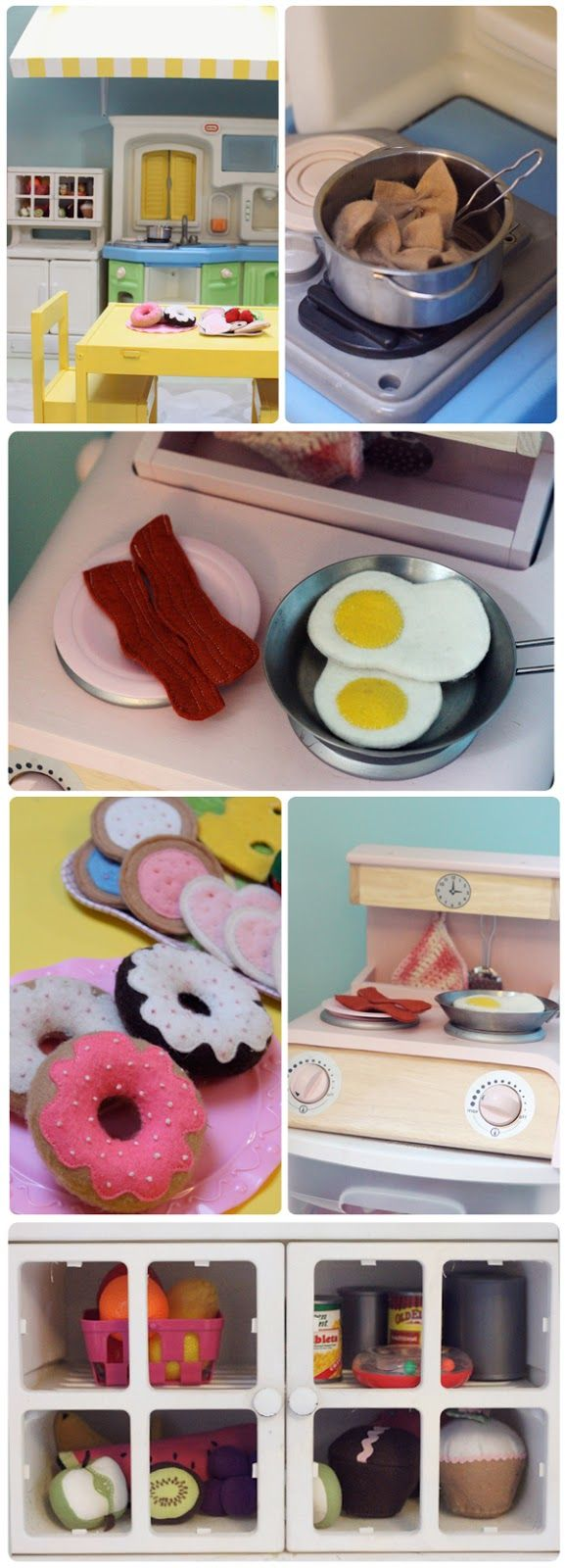 Felt food- fun and CHEAP...  The Busy Budgeting Mama: Our Playroom Reveal - DIY Details & Storage Solutions!