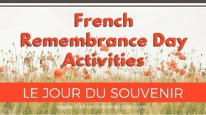 French Remembrance Day Classroom Activities