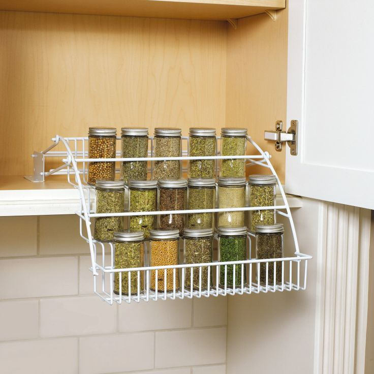 Features:  -Versatile spice rack will complement any decor.  -Color: White.  -Does not include spice jars.  -When pushed up it's flat against the wall, so pull forward then down.  Product Type: -Spice