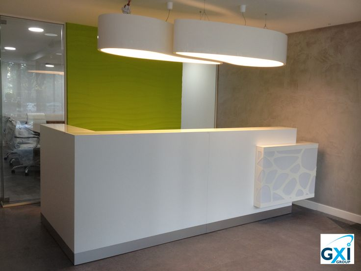 Organic reception desk & Ellipse lamps by MDD. Project in London by GXI Group