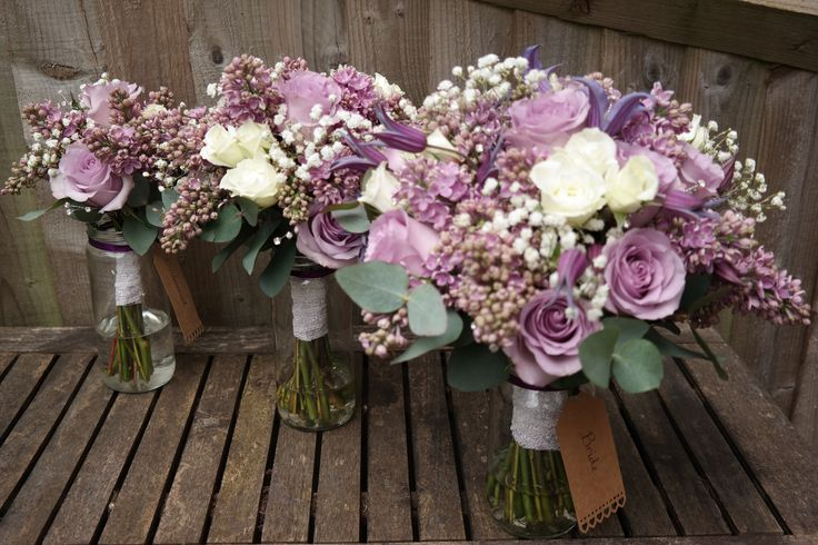 Lilac springtime wedding bouquets