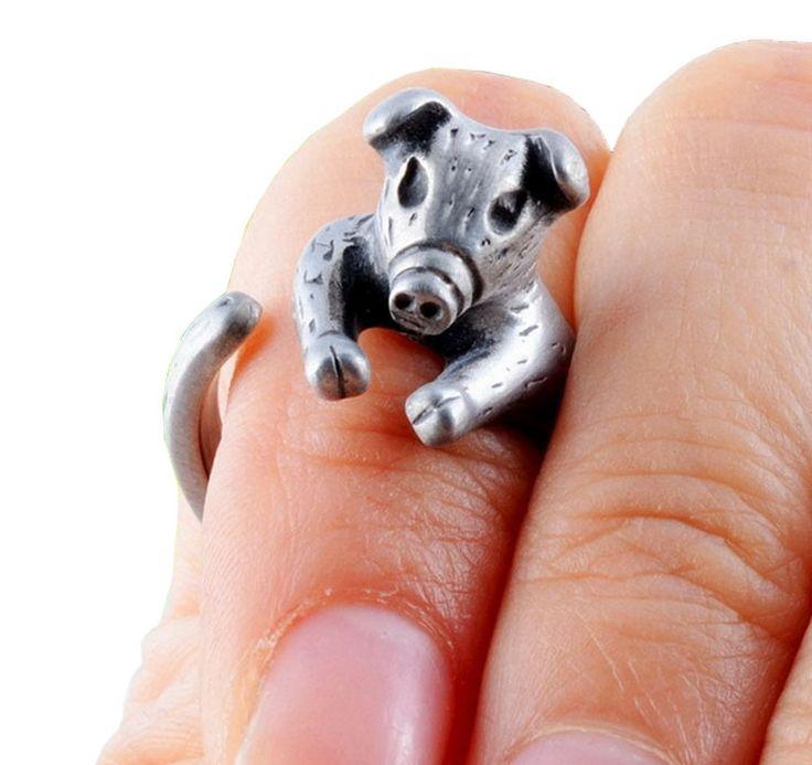 retro gelukkige varken verstelbare zilveren ringen 10 stuks groothandel huisdier wrap ring antieke gouden bruiloft open ring vrouwen gratis verzending(China (Mainland))