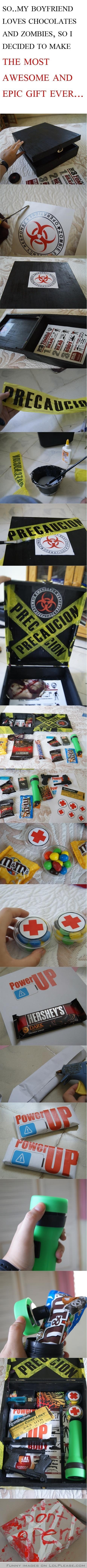 zombie survival kit... Not my boyfriend, but my son really loves this zombie stuff... this is a great idea!