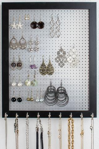 Organize your Hook Earrings & Necklaces I've created the BEST 2-n-1 Jewelry Organizer. This 8x10 Solid Black Frame holds all your Hook Earrings & Necklaces. It hangs on the wall to provide the perfect