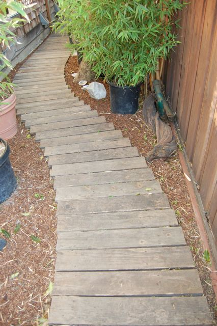 Wooden path from driveway to  yard where grass won't grow due to doggie!