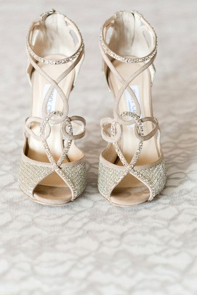 Elegant bridal shoe idea - strappy champagne-colored heels {Arte De Vie}