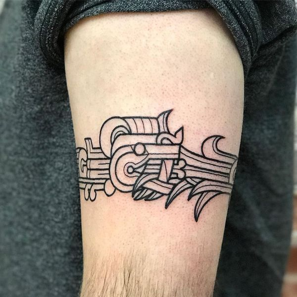 Aztec Tattoo Designs for Men and Women // May, 2020 Tattoo Aztecas, Ouroboros Tattoo, Snake Tattoo, Arm Band Tattoo, Body Art Tattoos, New Tattoos, Hand Tattoos, Tatoos, Aztec Tattoo Designs