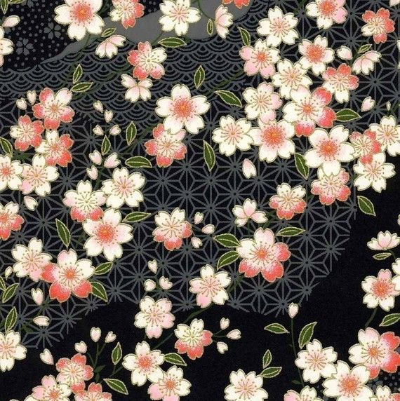 Chiyogami or yuzen paper - pretty waves of pink cherry blossoms on black