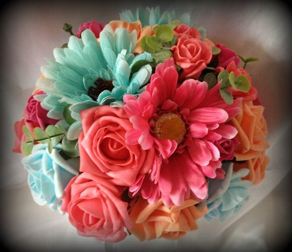 Package of Artificial wedding flowers bouquet Brides and Bridesmaids posy's and free matching Grooms buttonhole in Coral, Pink and aqua on Etsy, $126.18